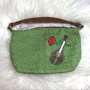 Vintage Upcycled Green Double C Coach Canvas Bag